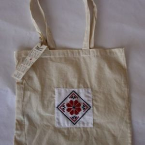 Bag with applied traditional motifs - natur