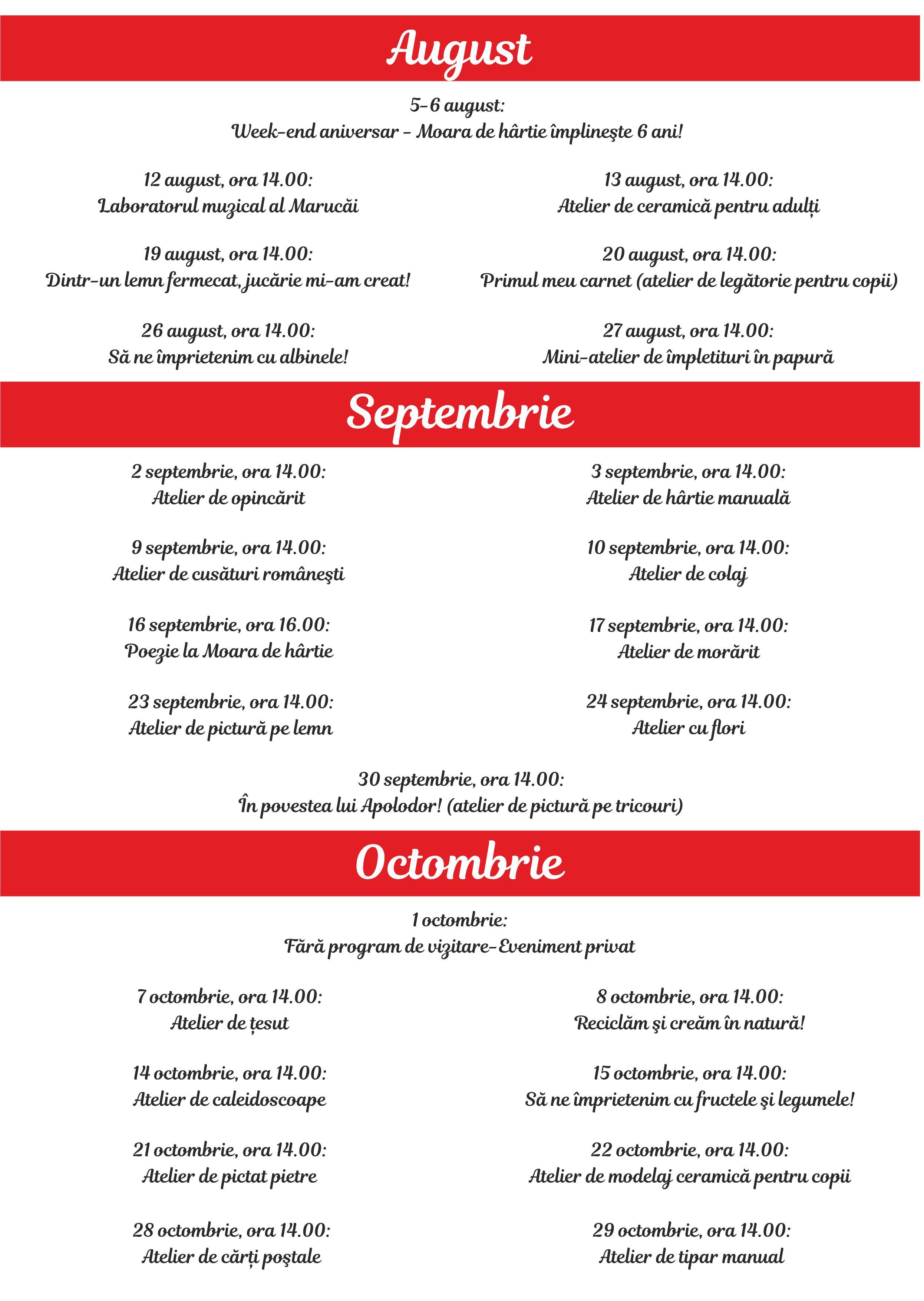 Calendar evenimente aug-nov-